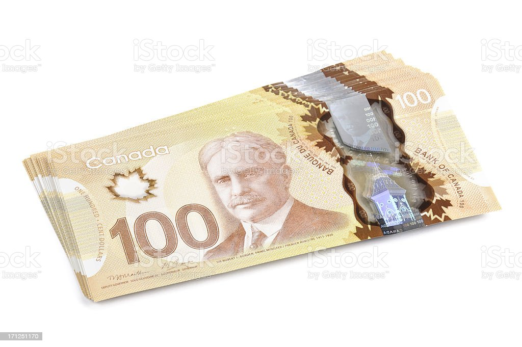 Canadian 100 Hundred Dollar Bills (w/ Clipping Path) stock photo