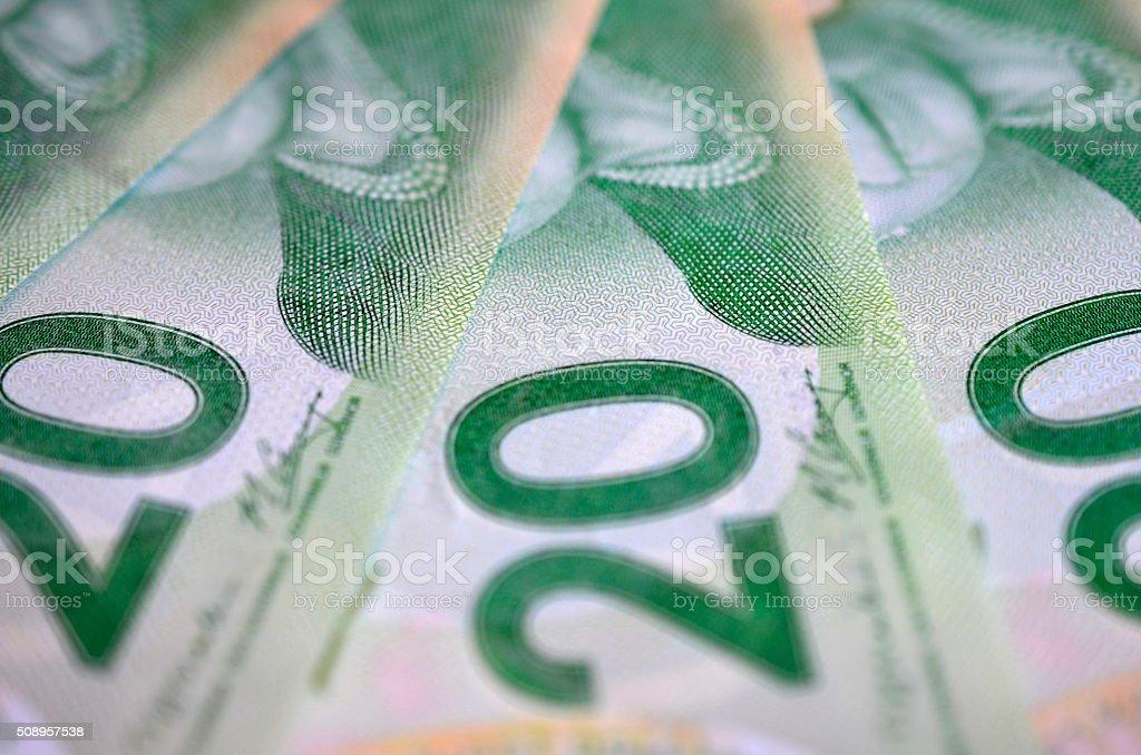 Canadian $20 Bill stock photo