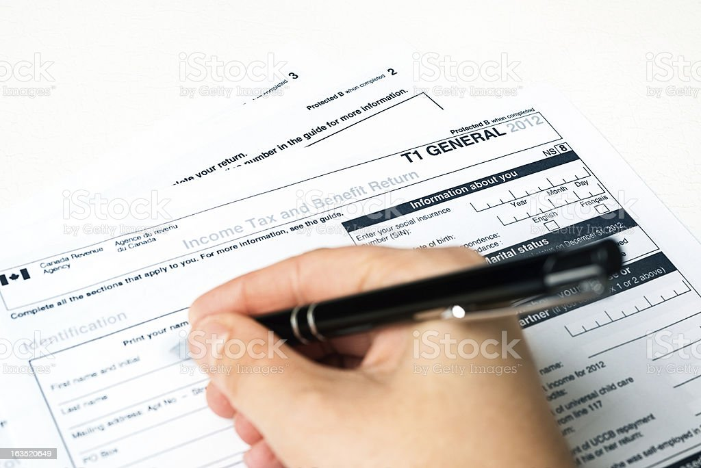 Canadian 2012 T1 Tax Form royalty-free stock photo