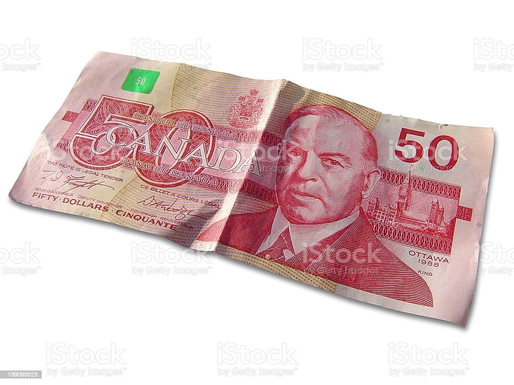 Canadian 50 dollar bill - isolated on white royalty-free stock photo
