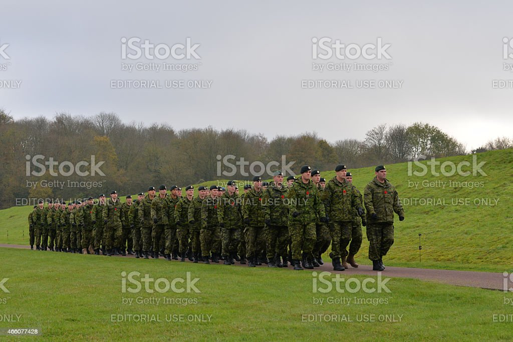 Canadian Armed Forces parading at the Canadian War Memorial stock photo