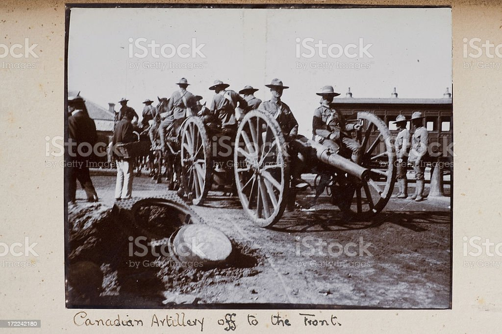 Canadian artillery off to the front stock photo