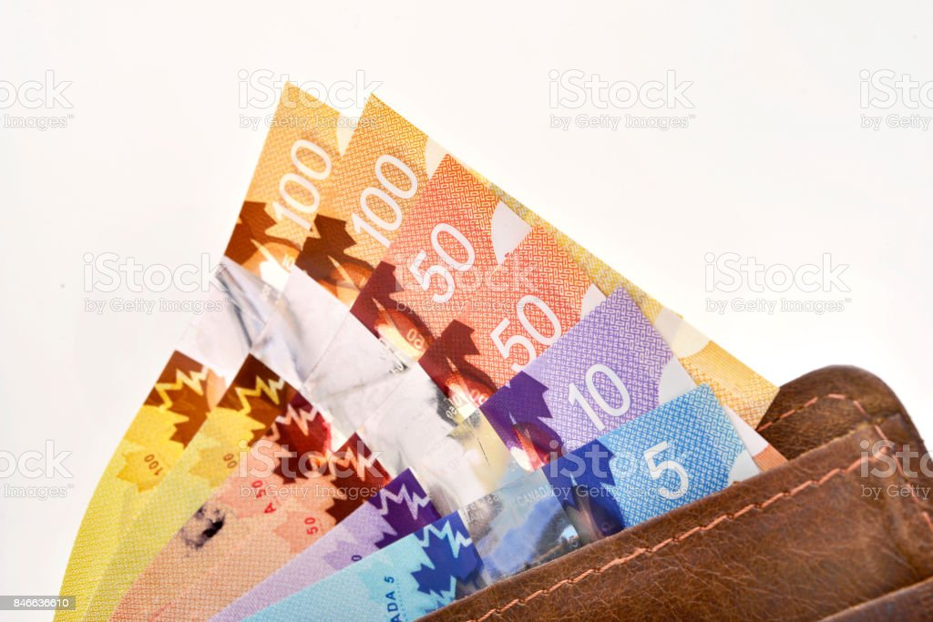 Canadian banknotes (CAD) stock photo