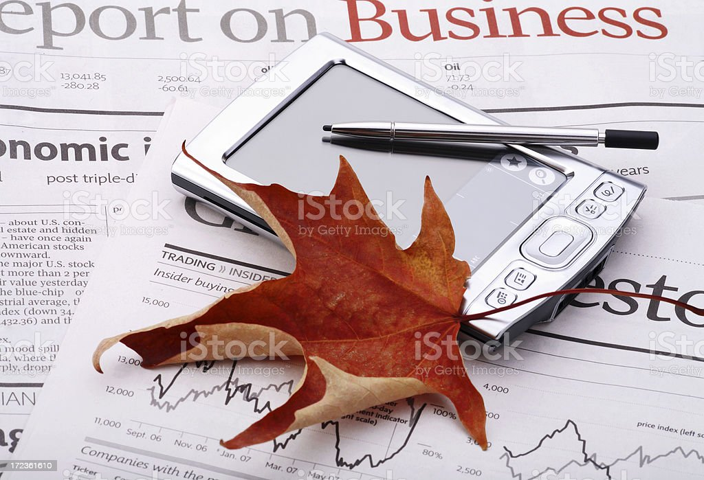 Canadian business meeting with maple leaf and PDA royalty-free stock photo