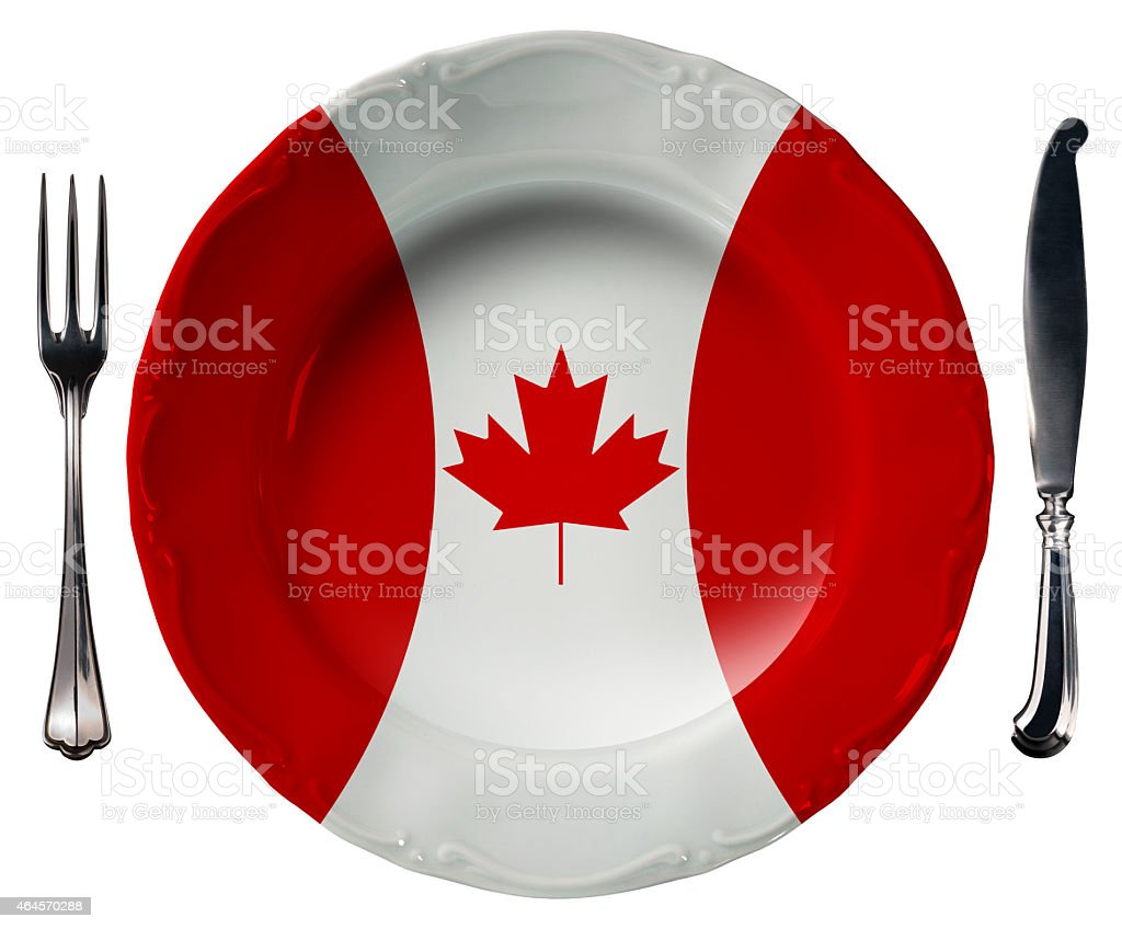 Canadian Cuisine - Plate and Cutlery stock photo