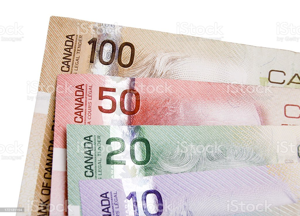 Canadian Currency Isolated (w/ clipping path) royalty-free stock photo