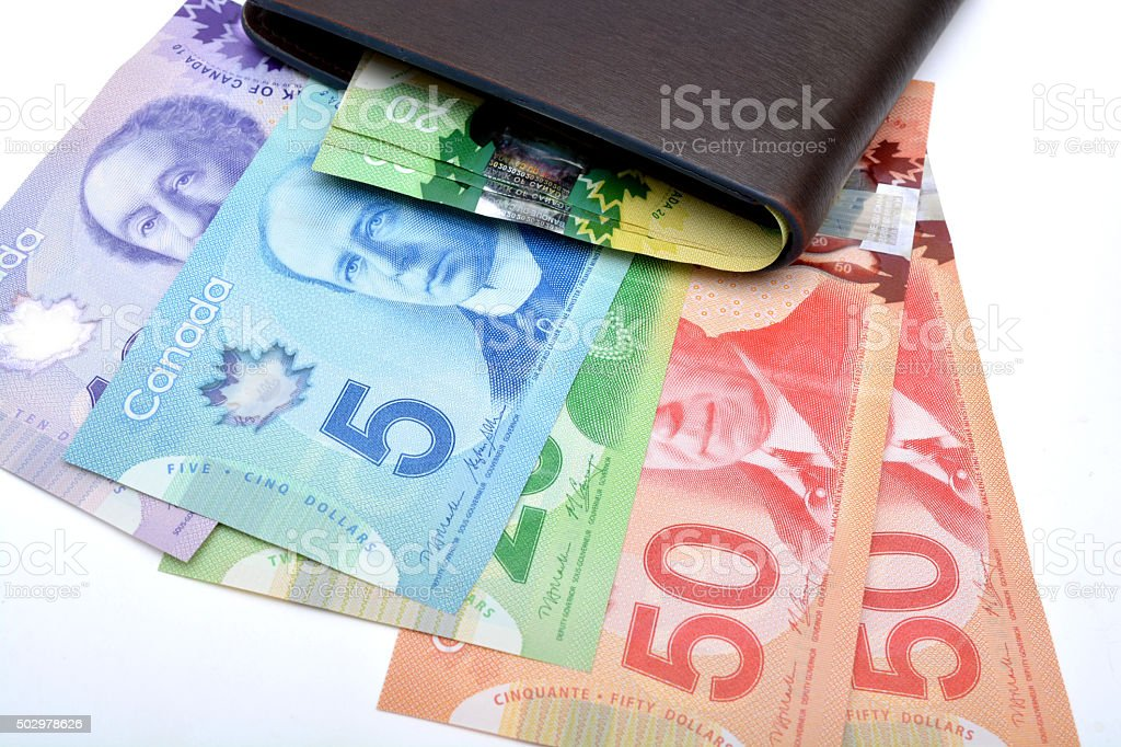 Canadian currency notes with perse Saving Concept stock photo