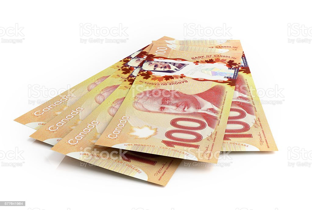 Canadian dollar banknotes stock photo
