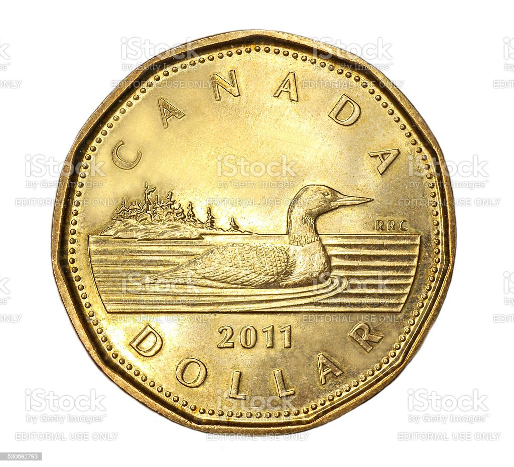 Canadian dollar coin stock photo