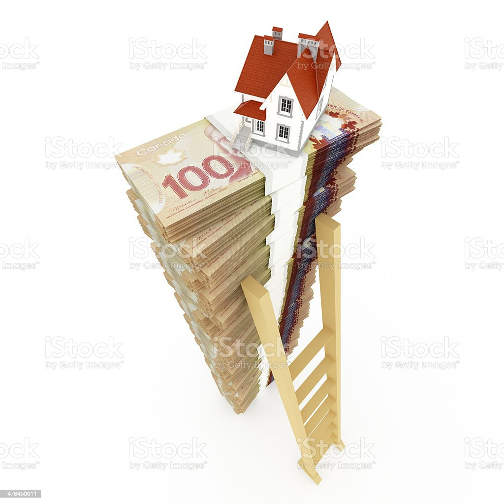 Canadian dollar stack with ladder and house vector art illustration