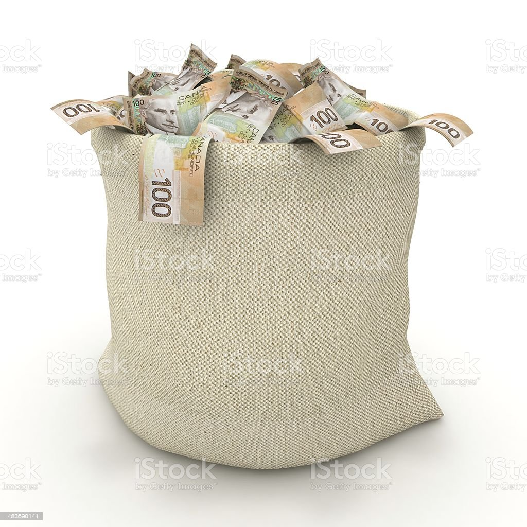Canadian Dollars - Money Bag stock photo