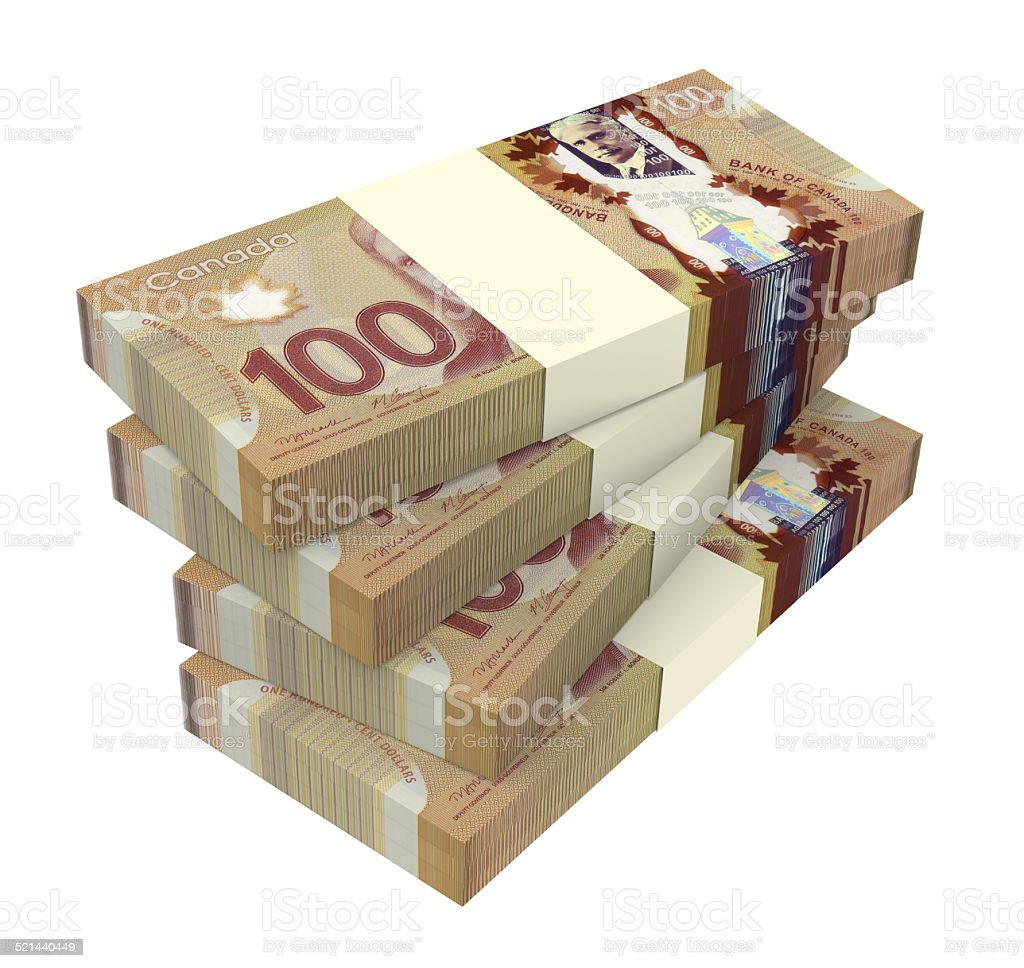 Canadian dollars money isolated on white background. stock photo
