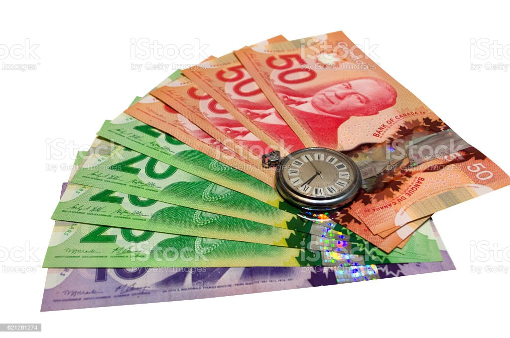 Canadian Dollars On White Background stock photo