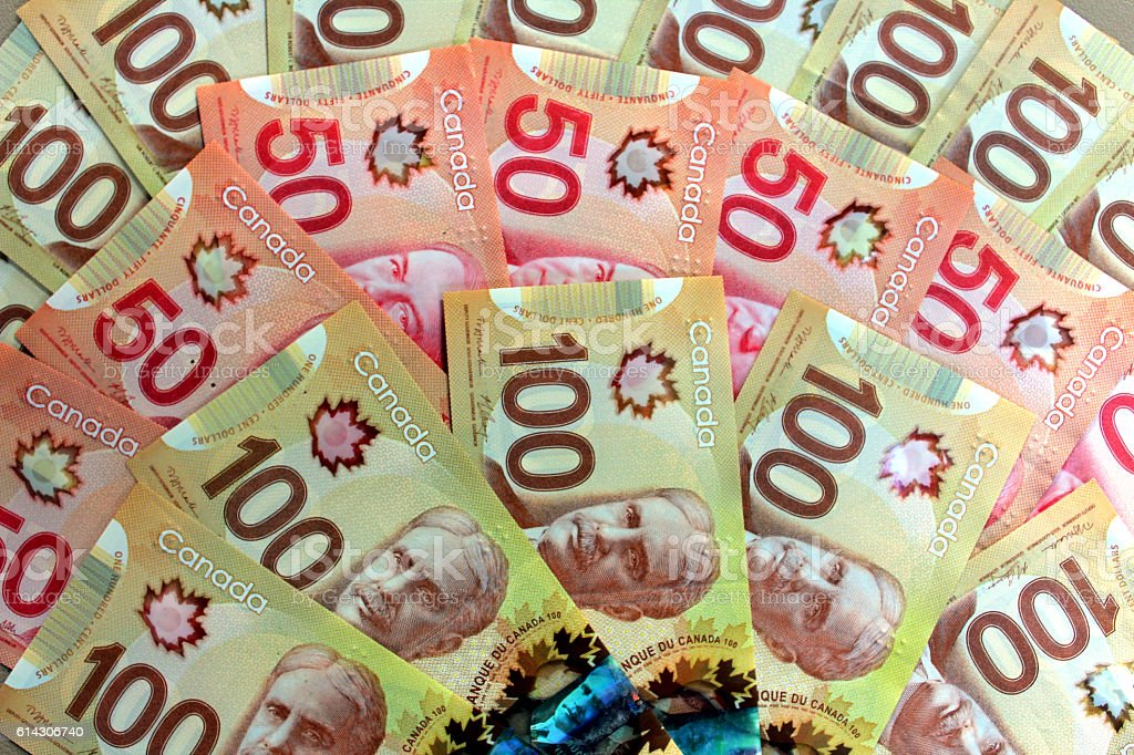 Canadian dollars stock photo