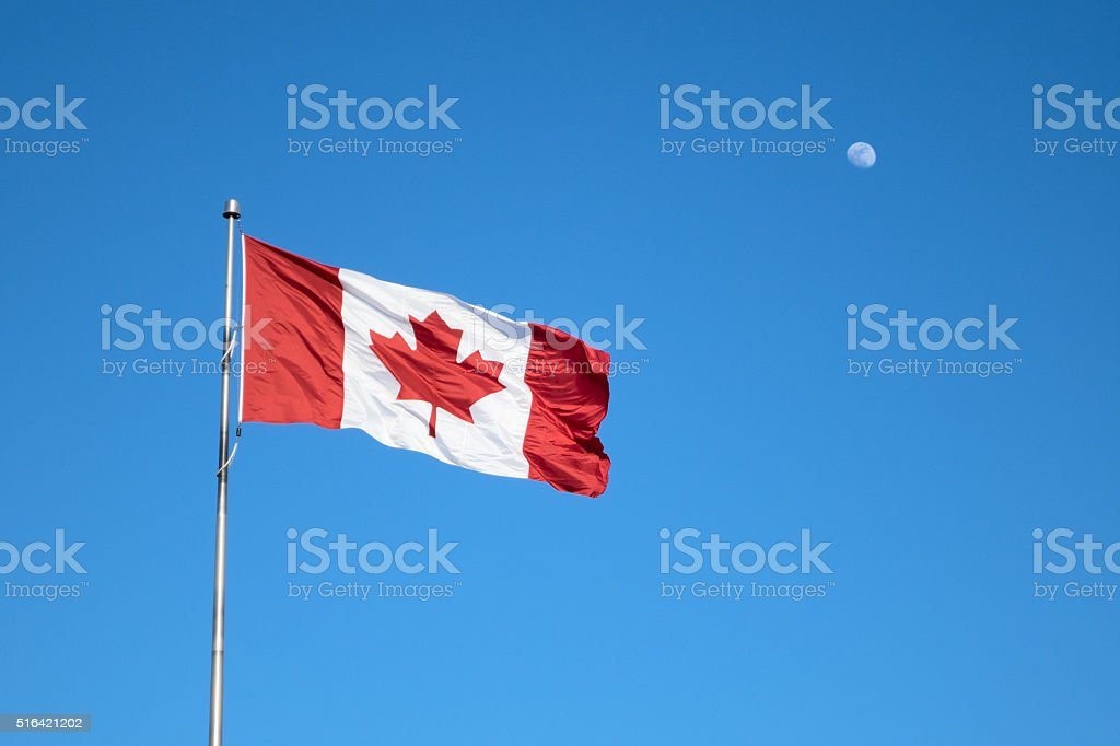 Canadian Flag and Moon stock photo
