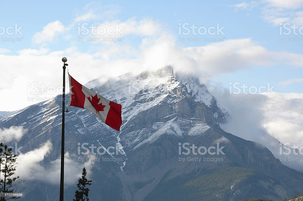 Canadian Flag and Mountain royalty-free stock photo