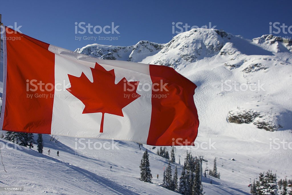 Canadian Flag at Whistler stock photo