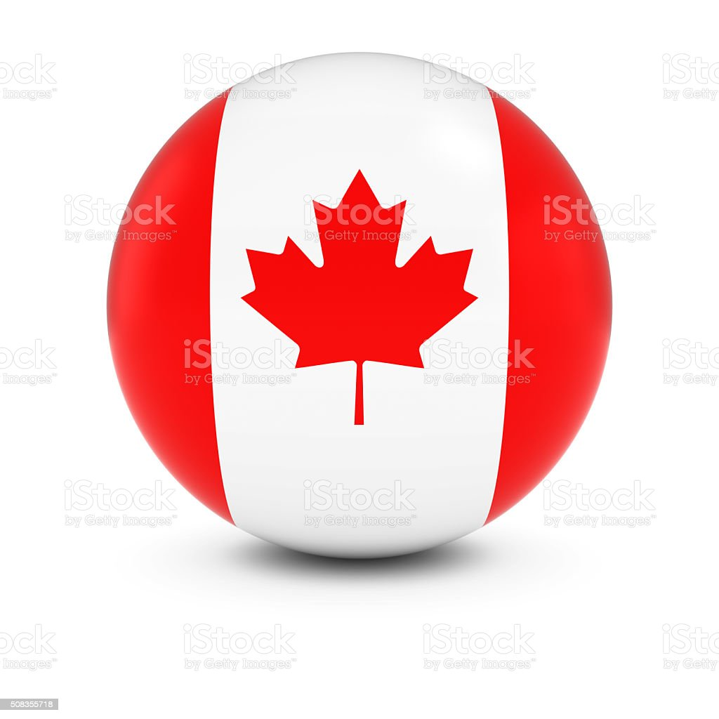 Canadian Flag Ball - Flag of Canada on Isolated Sphere stock photo
