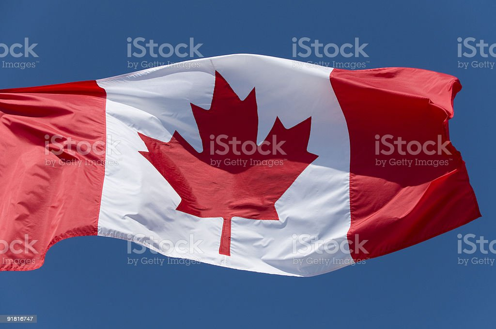 Canadian flag blowing in the wind stock photo