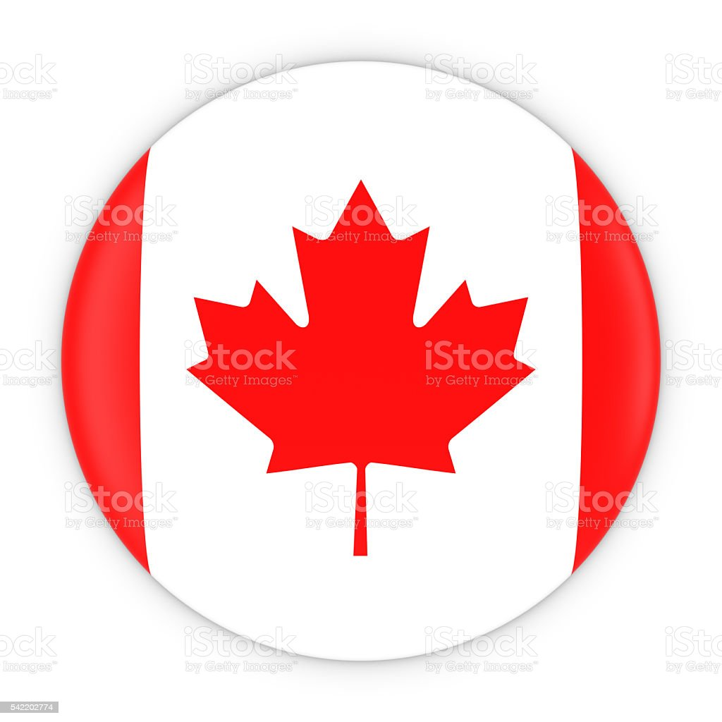 Canadian Flag Button - Flag of Canada Badge 3D Illustration stock photo