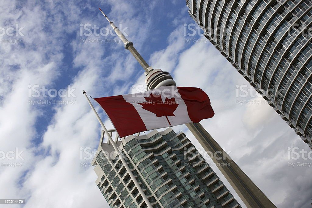 Canadian flag in Toronto City royalty-free stock photo