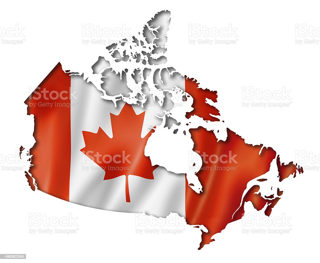 Canadian flag map stock photo
