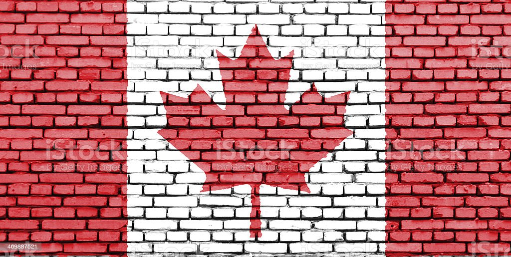 Canadian Flag on a brick wall. stock photo