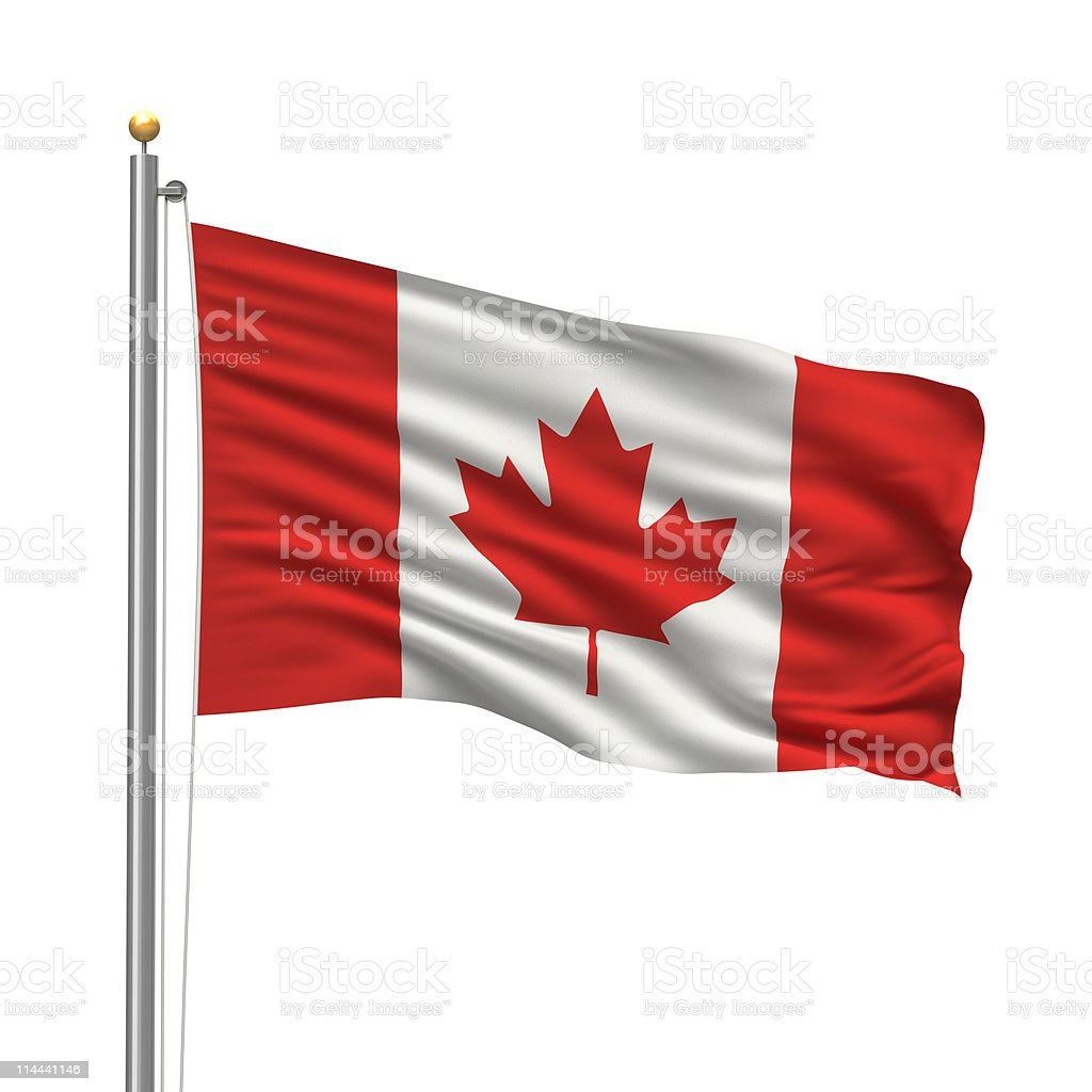 Canadian flag on a flag pole, blowing in the wind stock photo