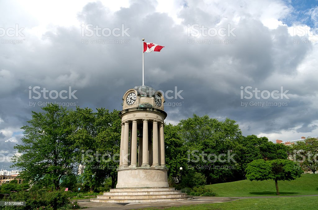 Canadian Flag on Clock Tower stock photo