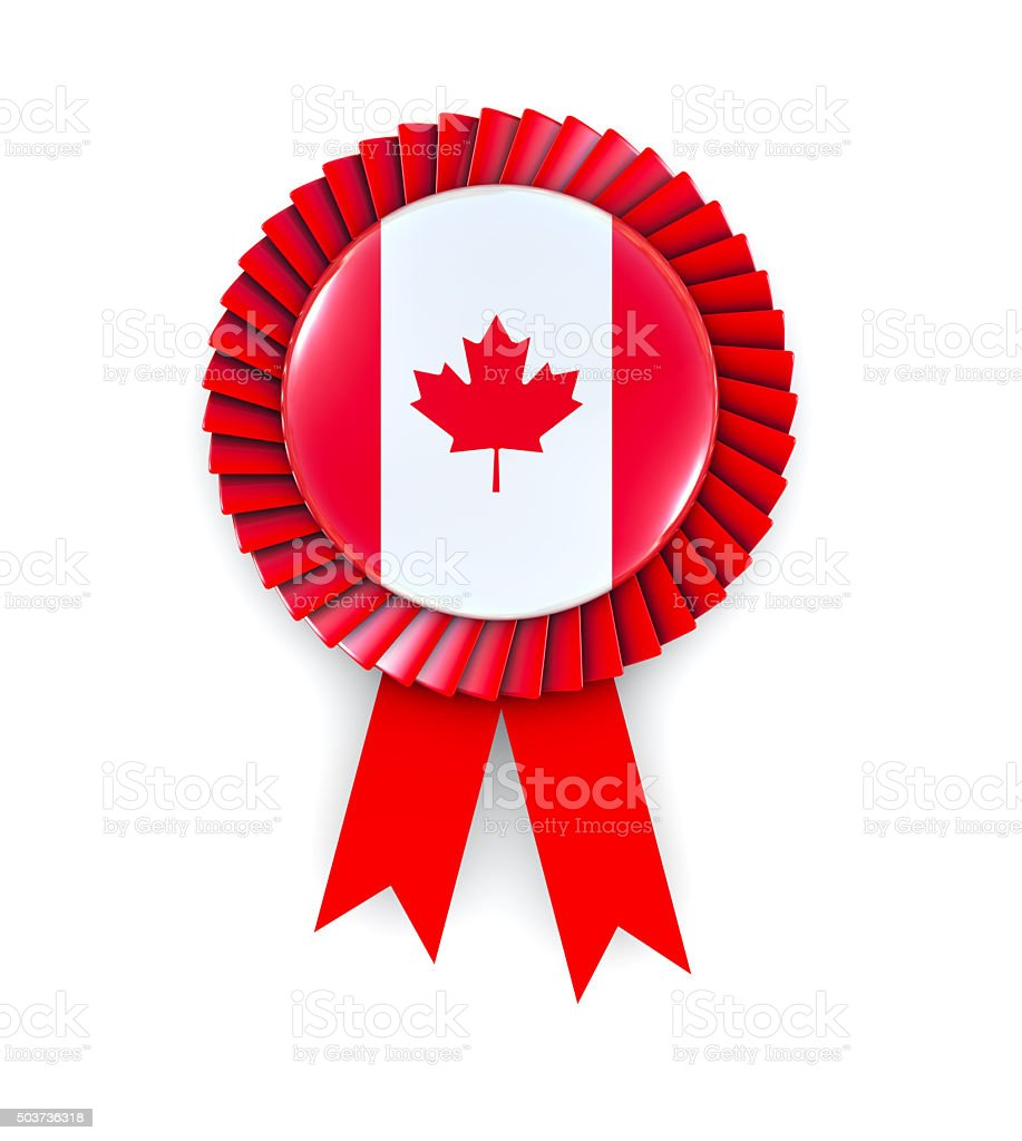 Canadian Flag on Cockade stock photo