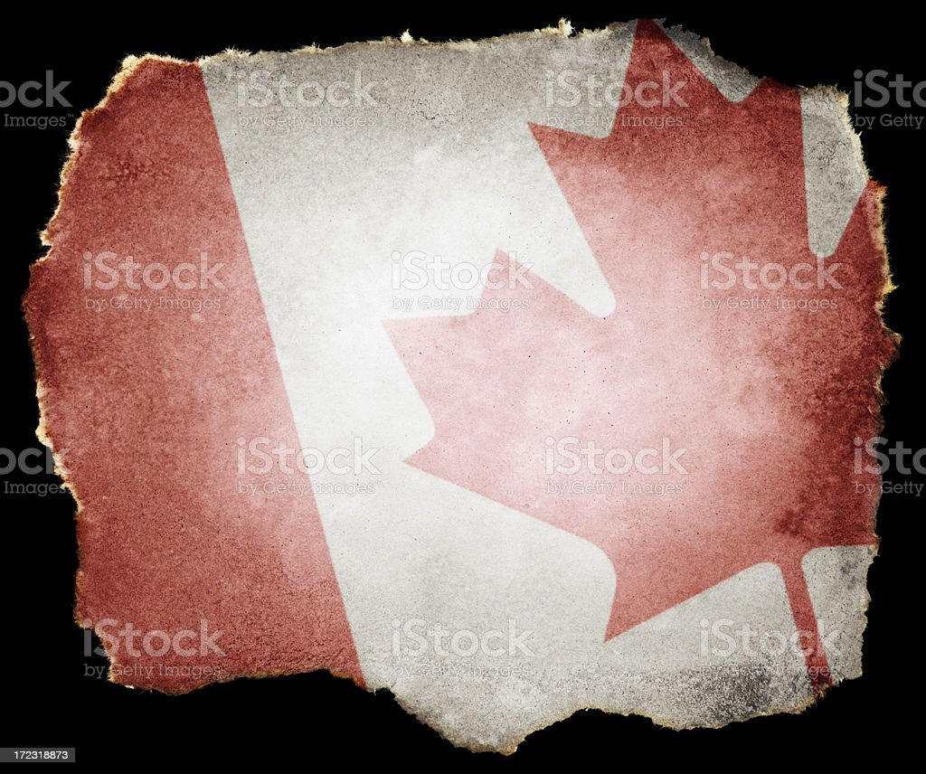 Canadian Flag on Torn Paper (Clipping Path; XXL) royalty-free stock photo