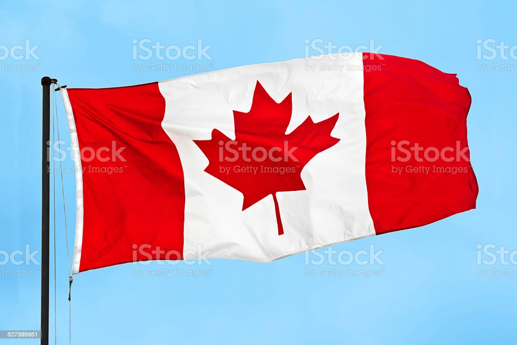Canadian flag waving in the wind against clear blue sky stock photo