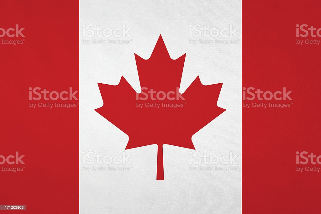 Canadian flag with nice satin texture stock photo