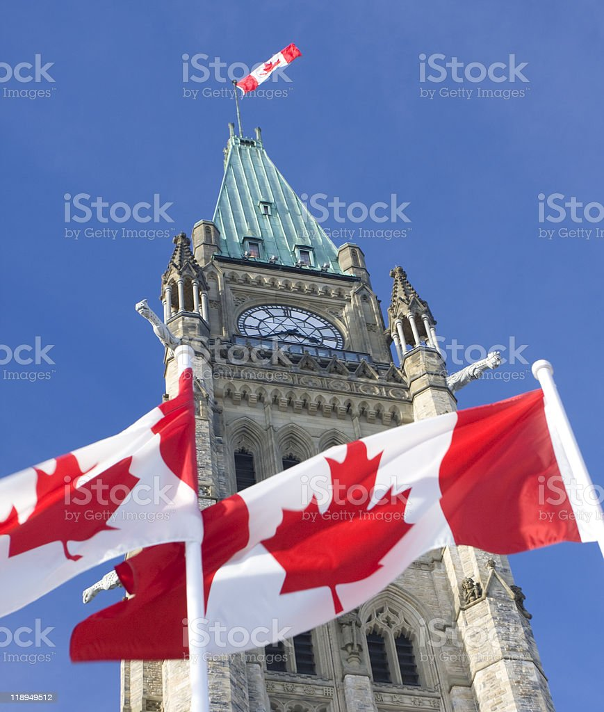 Canadian flags and Parliament, Ottawa stock photo