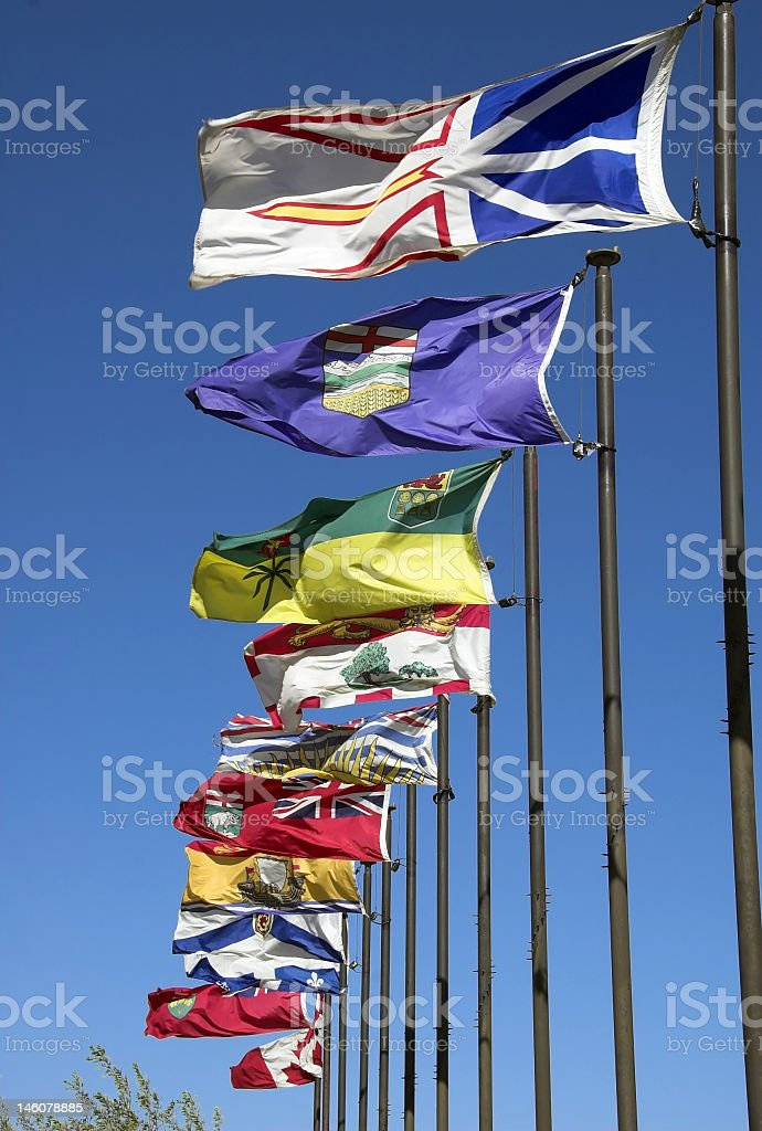 Canadian flags stock photo