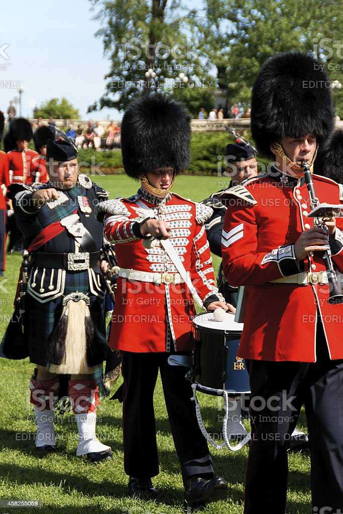 Canadian Grenadier Guards on parade in Ottawa, Canada stock photo