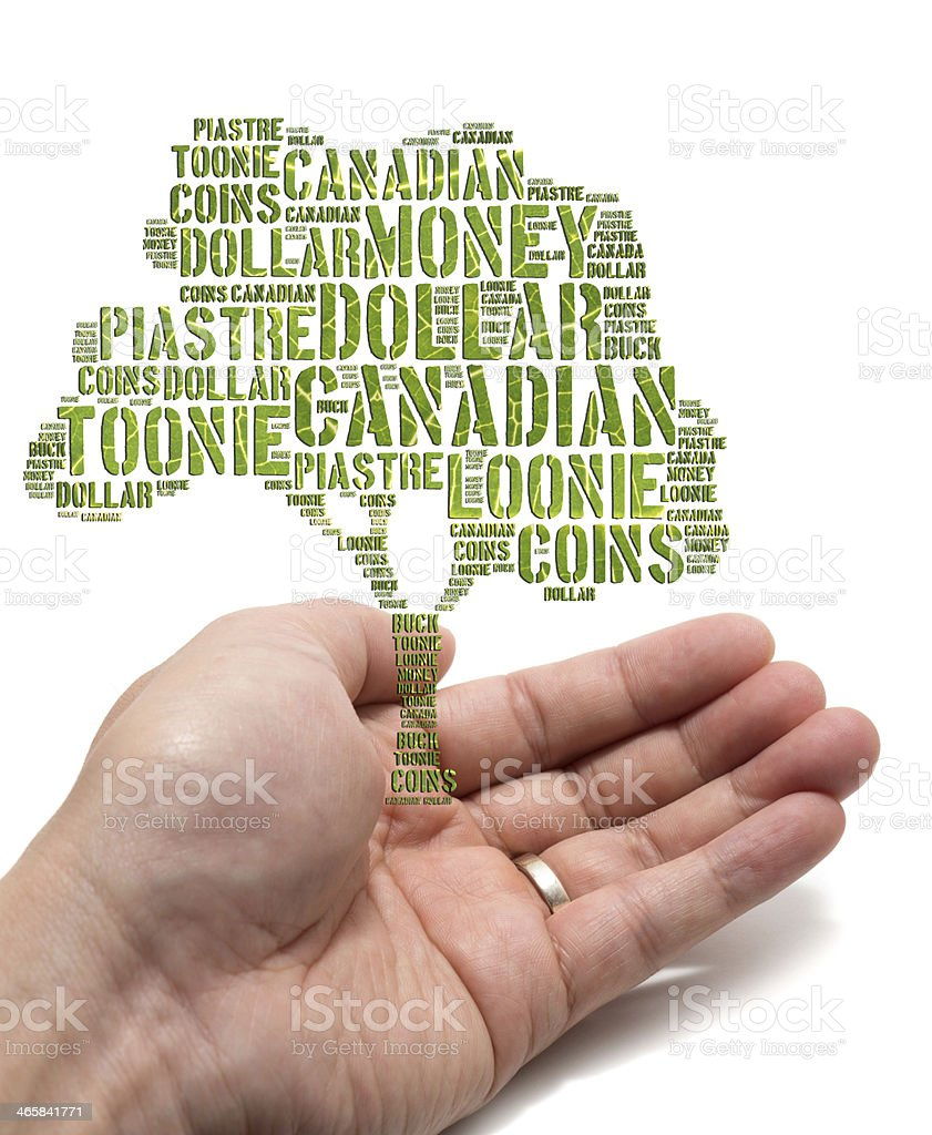 Canadian growing savings concept with tag cloud tree stock photo
