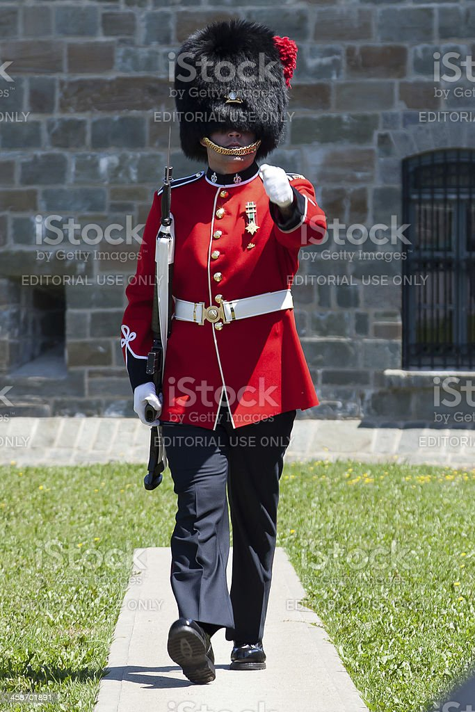 Canadian Guardsman marches in Old Quebec City, Canada stock photo