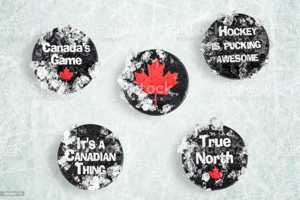Canadian hockey pucks stock photo