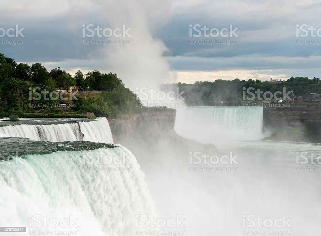 Canadian Horseshoe and American Falls at Niagara stock photo