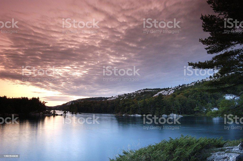 Canadian Lake Sunset royalty-free stock photo