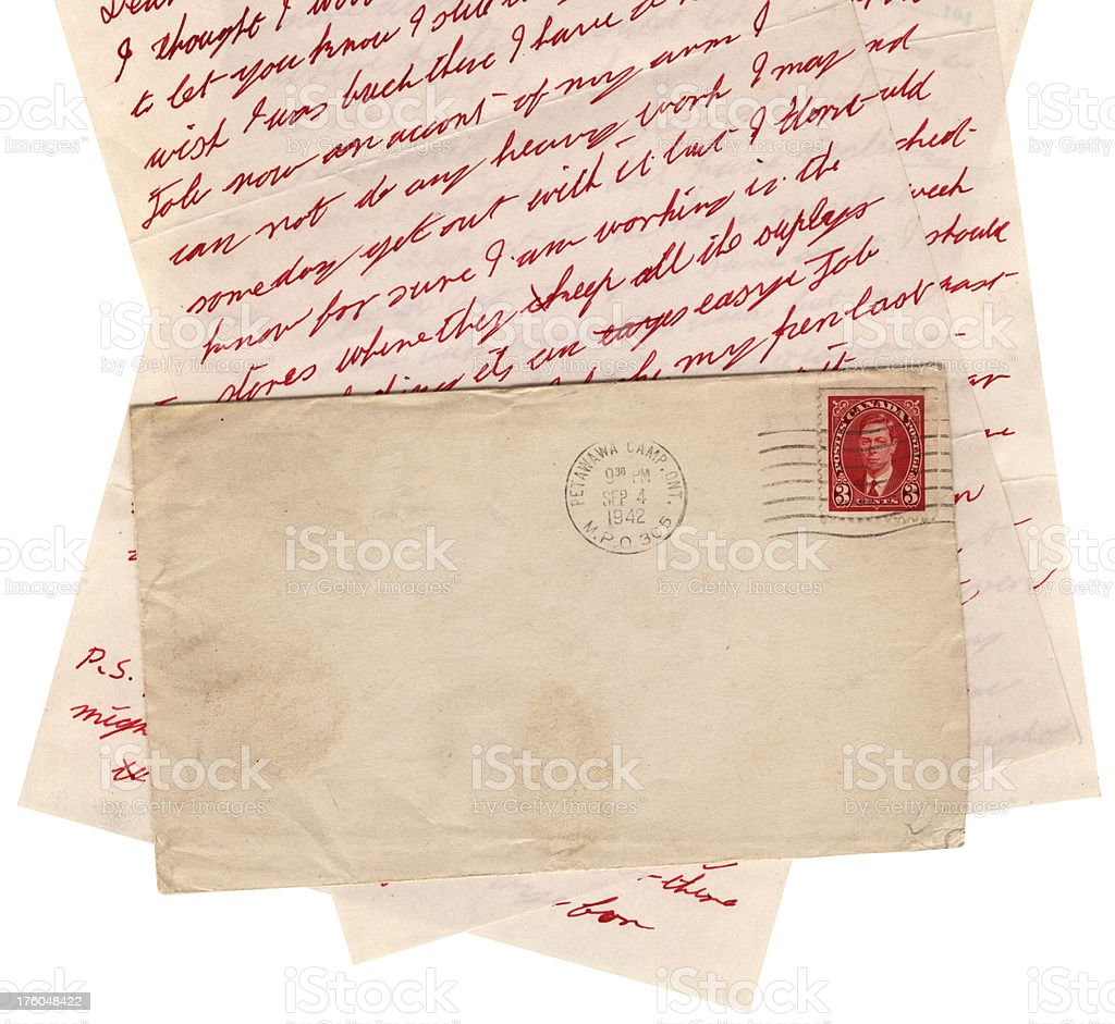 Canadian letter and envelope WW2 - cropped stock photo