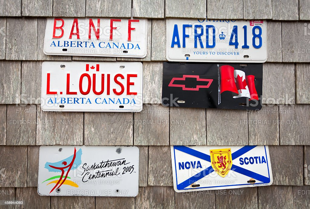 Canadian License Plates on Shingles stock photo