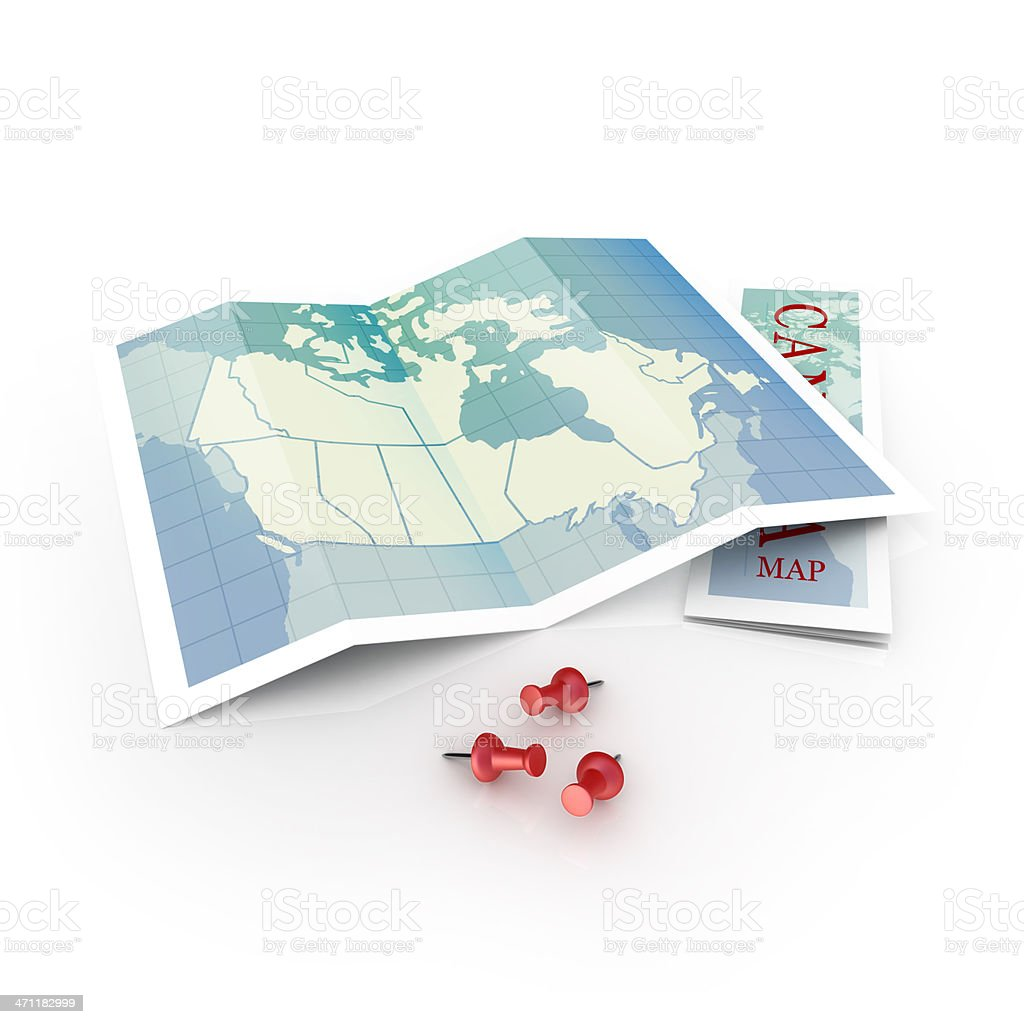 Canadian map with three red thumbtacks royalty-free stock photo