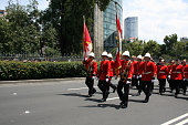 Canadian military marching in the Bicentennial aniversary of Mexico's Independence.