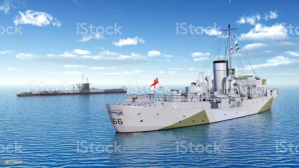 Canadian military ship and German submarine of World War II stock photo