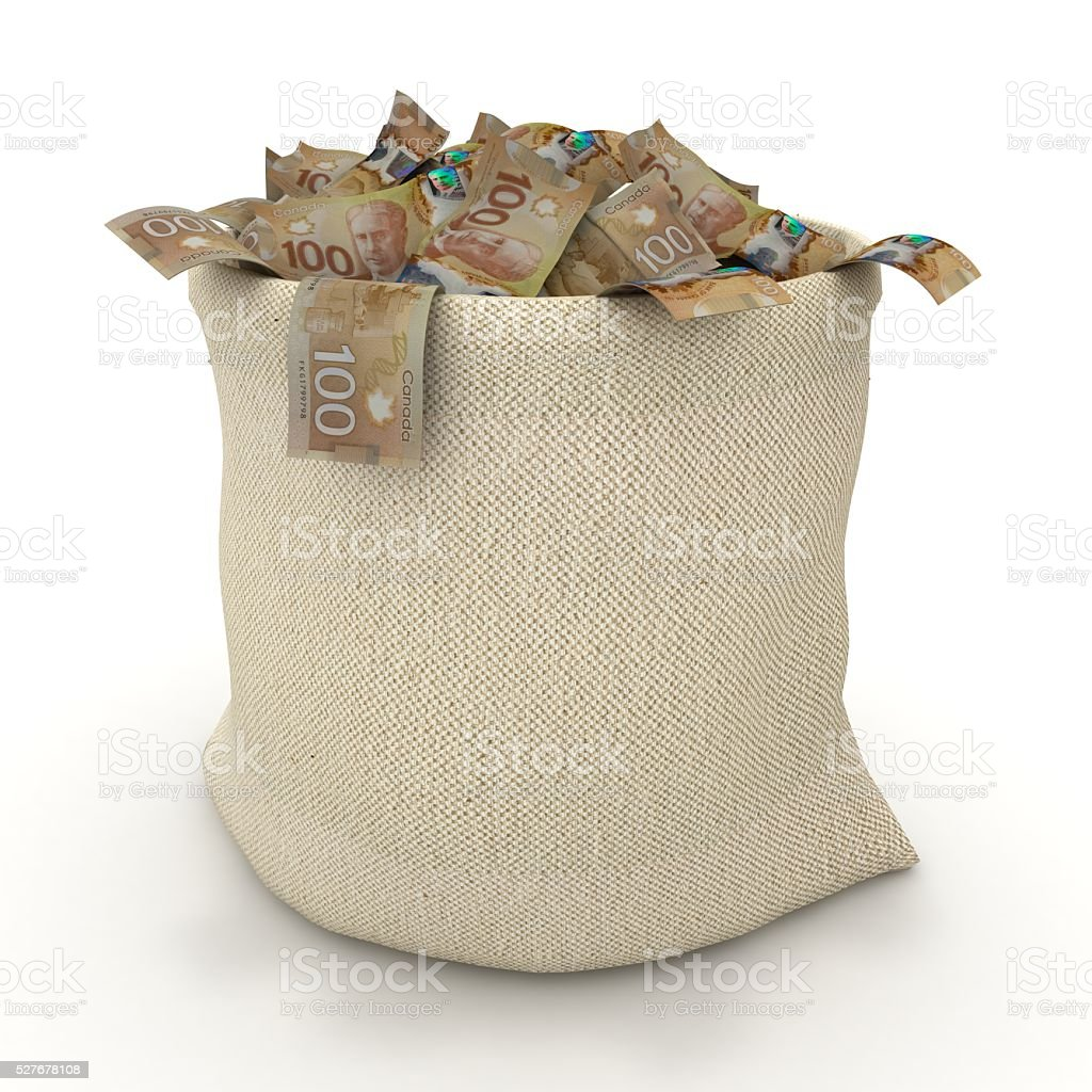 Canadian money bag concept stock photo