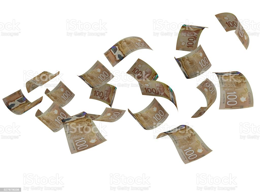 Canadian money flying falling concept stock photo