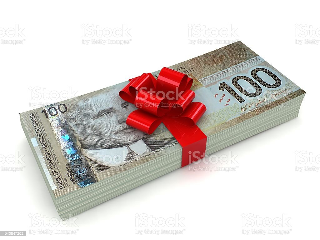 Canadian money gift concept stock photo