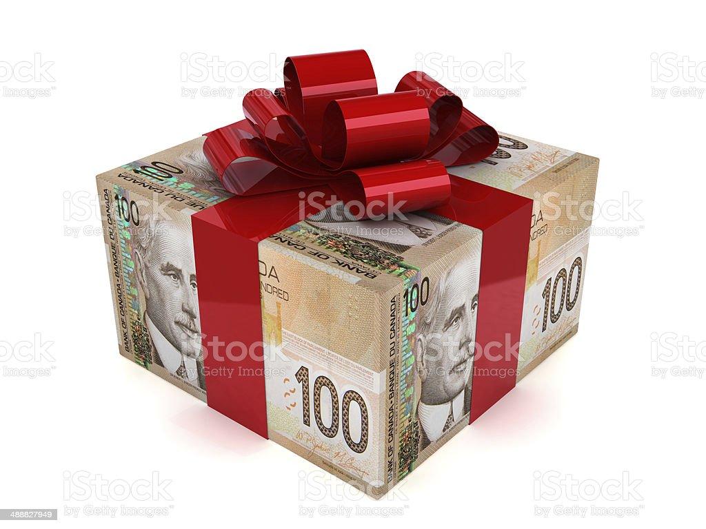 Canadian Money Gift stock photo